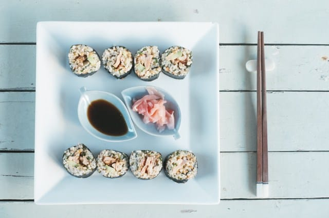 Brown rice salmon sushi