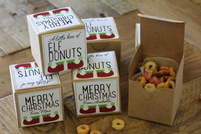 Elf donuts: free printable elf donut labels for a merry Christmas gift
