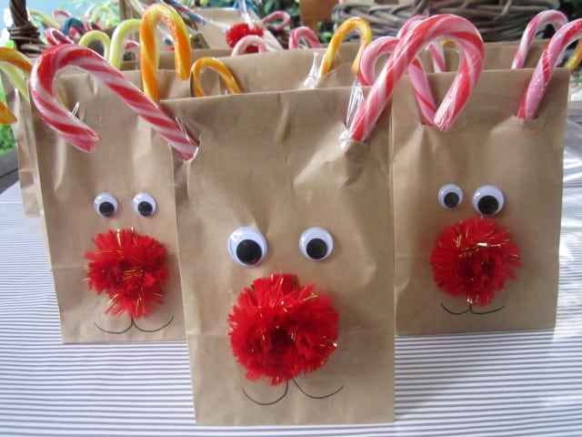 Rudolph treat bags: a fun Christmas gift to make for friends