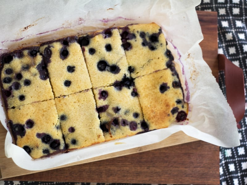 Blueberry pancake sheet cake – bulk pancakes made easy