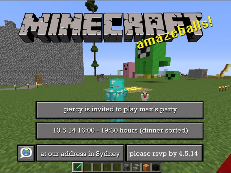 Free Minecraft party invitations to download, edit and print