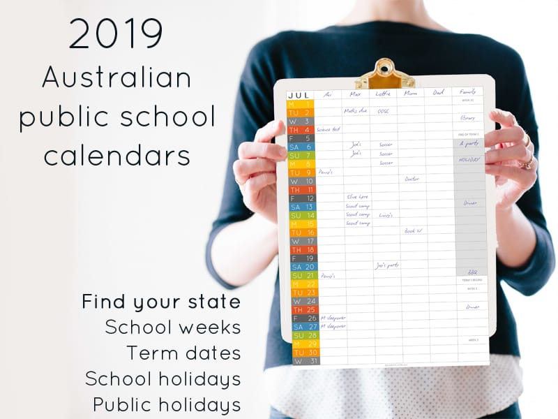 2019 Australian public school calendar: school holidays and term dates