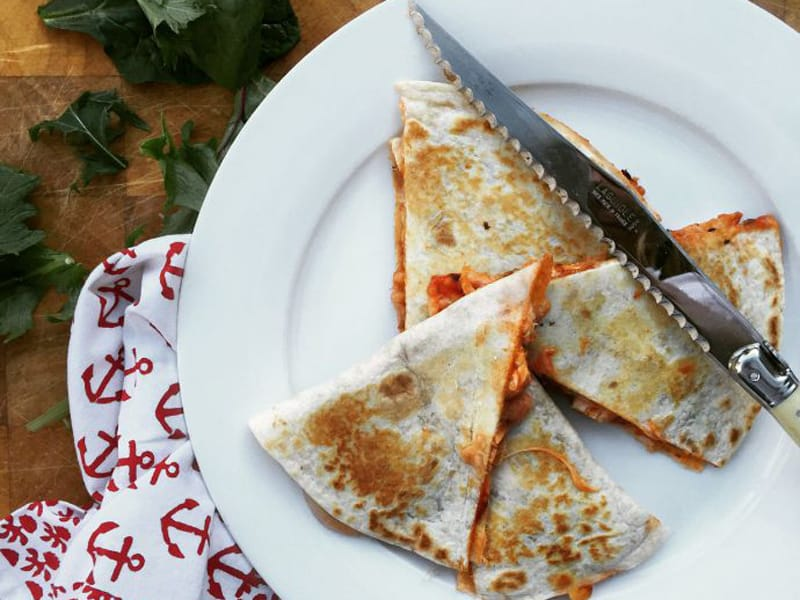 Pizza quesadillas - super easy for the kids to make