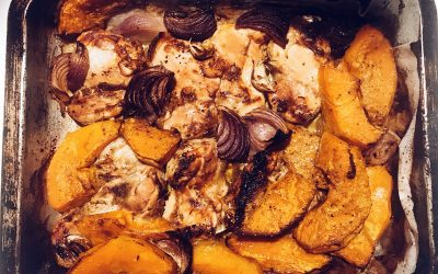 Midweek chicken and pumpkin tray bake recipe