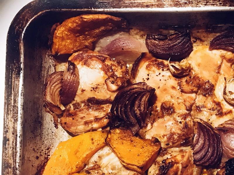Chicken and pumpkin tray bake