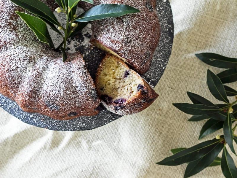 A fancy blueberry bundt cake