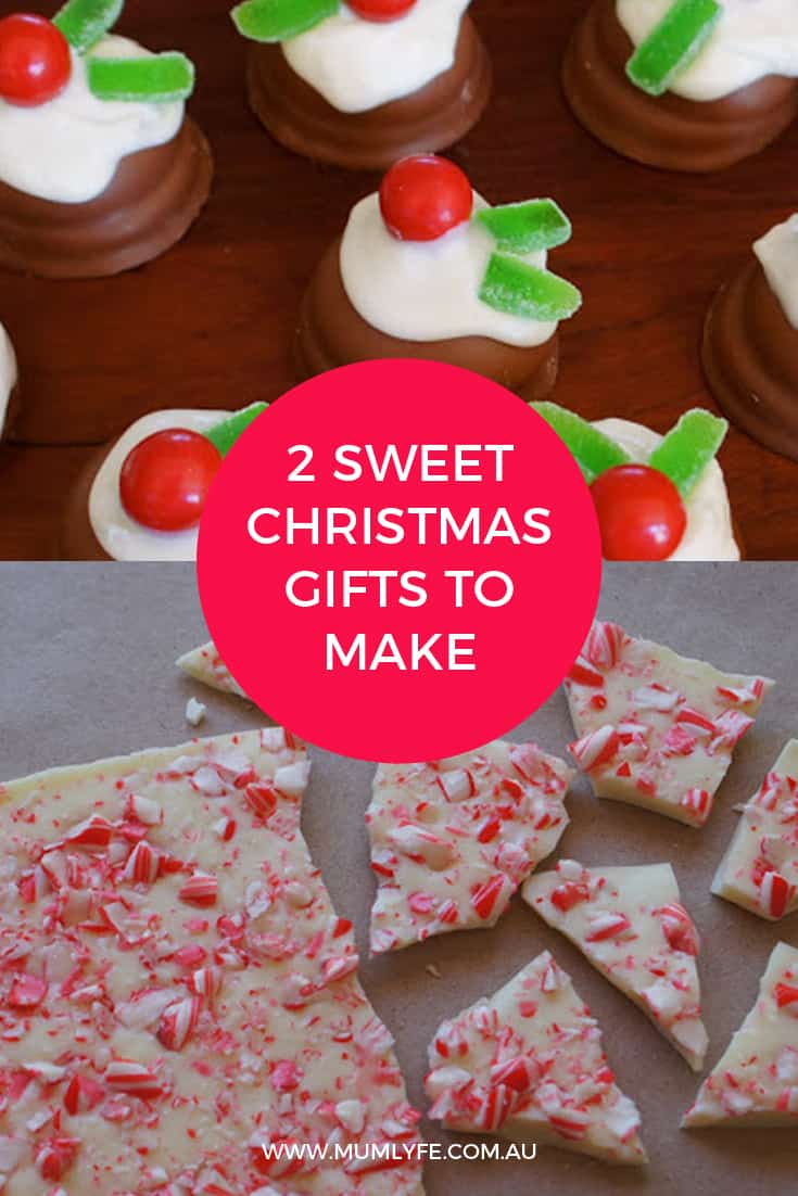 Sweet chocolate Christmas puddings and candy cane bark to make