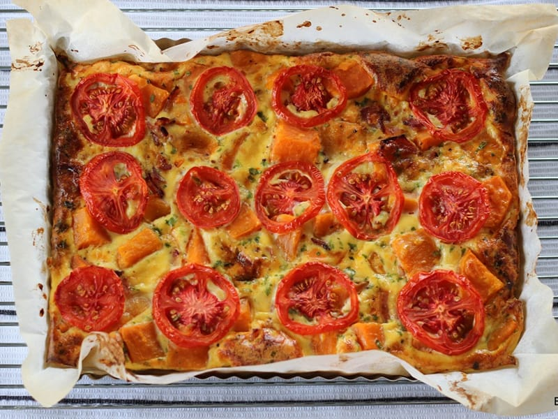 Baking Makes Things Better sweet potato and bacon savoury slice