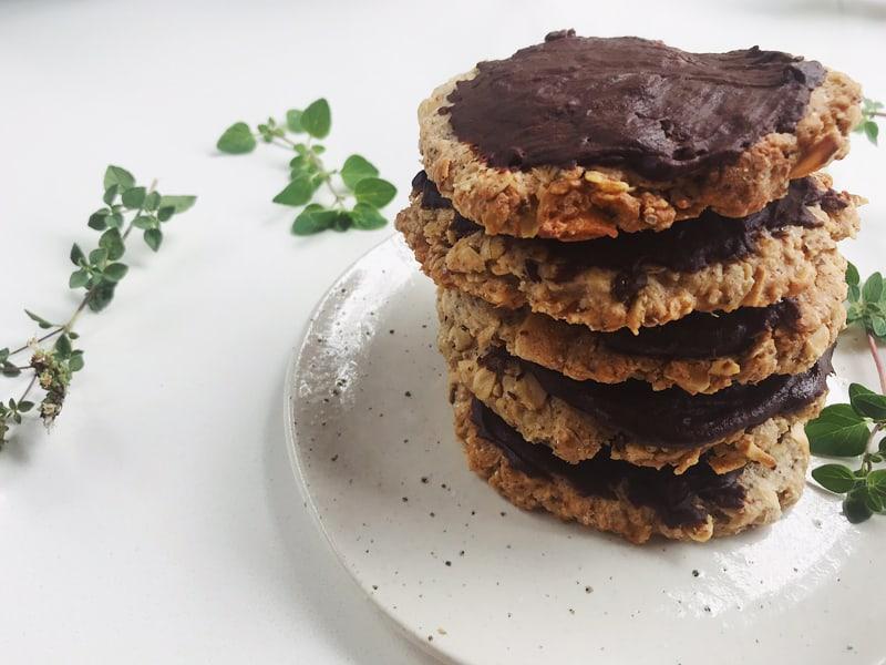 Healthy homemade chocolate digestives